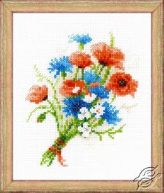 Bouquet with Cornflowers - Cross Stitch Craft Kits by RIOLIS - 1576
