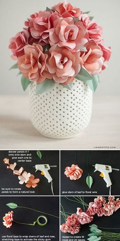 DIY Paper Flowers • Tutorials for easy and elegant paper flower projects, like these DIY paper roses from 'Lia Griffith'!