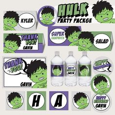 Cute Hulk Pop Art Birthday Party Editable Package