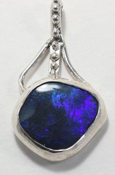 Australian Black Opal Pendant Sterling Silver Blue & Purple Fire! by owenBrandDesigns on Etsy