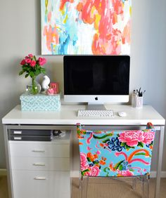 Add wall #art to complement the bold and bright colors of #floral patterns!