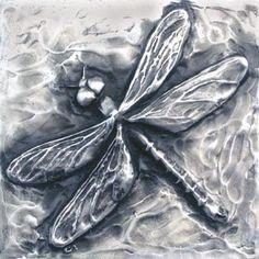 Dragonfly Bas Relief Sculpture Plaque in fine por EarthlyCreature