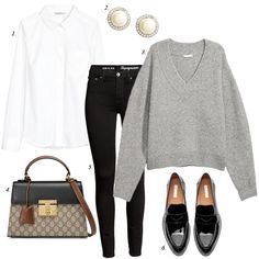 casual work outfit, grey sweater, black skinny jeans, loafers, women, fashion, how to wear, style, personal shopper