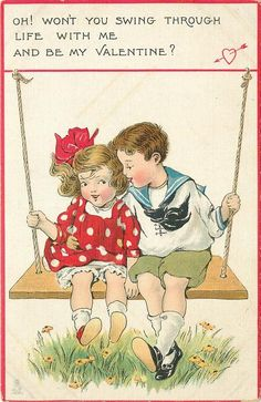 Free freebie printable vintage Valentine postcard of boy, girl on swing by Raphael Tuck Co. Lots more Tuck on this site!