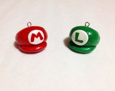 Mario and Luigi Hats Planner Polymer Clay Charm by misaberry