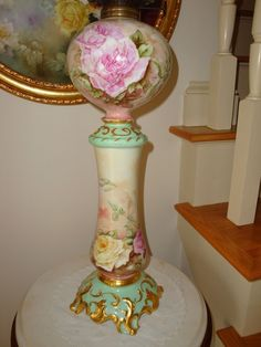 Antique Limoges France Ca 1894 Original Oil Lamp Parlor Lamp Banquet from theverybest on Ruby Lane