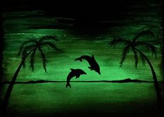 Dolphin Beach glow in the dark ready to ship by TrueAcrylics
