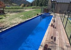 Container pool range and pricing - Container Pools NZ Shipping Container Swimming Pool, Container Pool, Pool Cover Roller, Natural Swimming Pools, Natural Pools, Pool Landscaping, Backyard Pools, Blue Liner, Small Pools
