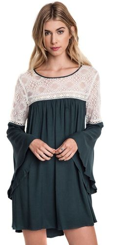 Umgee Forest Green Bell Sleeve Baby Doll Dress with Lace -- Check this awesome product by going to the link at the image. (This is an affiliate link and I receive a commission for the sales) Bell Sleeve Dress, Bell Sleeves, Hunter Green Dresses, Babydoll Dress, Dress Lace, Fashion 101, Latest Dress, Timeless Fashion, Hippy