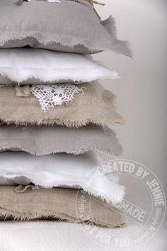 raw edge pillows and duvet Linen Pillows, Linen Fabric, Linen Bedding, Decorative Pillows, Bed Pillows, Handmade Pillows, Duvet, Summer Decoration, Lavender Bags