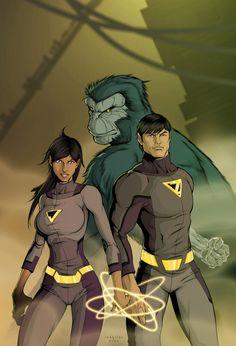 Wonder Twins & Gleek - Salvador Velazquez Dc Comics Heroes, Arte Dc Comics, Dc Comics Characters, Comic Book Heroes, Comic Books Art, Comic Art, Image Comics, Batwoman, Batgirl