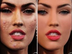 Megan Fox Beauty Before After Photoshop Celebrities