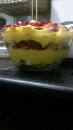 "My super easy ""6 layers Fruit Custard n Cake Pudding"""