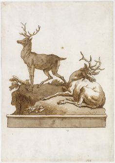Giovanni Domenico Tiepolo   Two Stags, One Standing and One Lying, on a Grassy Knoll (with a Base)   The Met