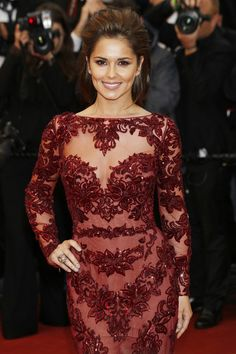 New Arrival Lace Red Mermaid Evening Gowns 2016 Burgundy Long Sleeves Carpet Cannes Celebrity Dresses