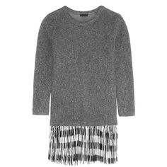 J.Crew Fringed knitted sweater dress (6 660 UAH) ❤ liked on Polyvore featuring dresses, anthracite, slip on dress, short sweater dress, short dresses, slimming dresses and j crew dresses