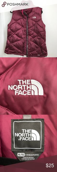 Northface Quilted Vest Burgundy north face vest. Front zipper. Very cozy.All items from smoke free home. The North Face Jackets & Coats Vests