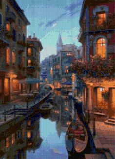 Romantic Evening in Venice Italy Cross Stitch pattern PDF - Instant Download! by PenumbraCharts on Etsy