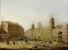 Built between 1605 and 1609, Northumberland House, centre, was one of the principal monuments of Jacobean architecture in London. It stood on the south-east side of Charing Cross, between the Strand and Whitehall with a garden leading down to the river and was newly refashioned around 1750. It was destroyed in 1874 to make way for the formation of Northumberland Avenue. Formerly known as Suffolk House it was owned by the Earl (later Dukes) of Northumberland - Museum of London