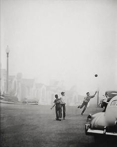 Fred Lyon..Street Ball Game in Fog  1950  gelatin silver print