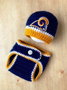 c7ec9ee41b2f88 Excited to share this item from my #etsy shop: Rams Baby Boy Hat Knit