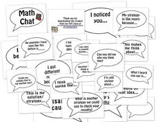 Math Chat Speech Bubbles for your classroom~ Give your students support in communicating mathematically.