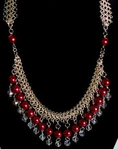 Beautiful Variation of Gem Beads w/Chain Maille.