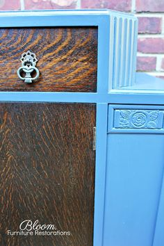 carved wood detail and vintage hardware