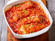 Ryba w warzywach z piekarnika - Beszamel.se.pl Macaroni And Cheese, Seafood, Curry, Food And Drink, Tasty, Meals, Dinner, Healthy, Ethnic Recipes