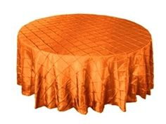 Orange Pintuck Round Tablecloths :) Love the color intensity!