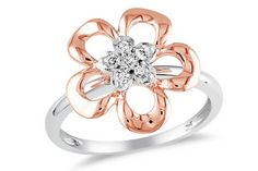 White & Pink Gold Flower Ring