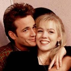 """IT'S ABOUT TIME! Luke Perry and Jennie Garth in their """"Beverly Hills 90210"""" heyday (above), and in Los Angeles last week."""