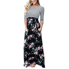 5ee7d0e105b38 MEROKEETY Women's Striped Black Floral Print 3/4 Sleeve Tie Waist Maxi Dress  With Pockets, Medium