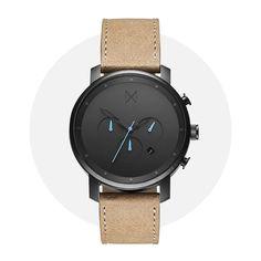 Mvmt Chrono Gunmetal Sandstone 24 Hour Clock, Mvmt Watches, Chronograph, Crystals, Glass, Leather, Accessories, Drinkware, Crystal