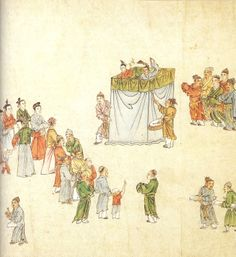 Yuan Dynasty, 14th century. Story-tellers and puppeteers in China entertained city-dwellers with much the same stories that playwrights worked into their polished dramatic texts. Detail from a fourteenth-century handscroll in ink and colour on paper.