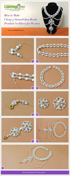 Tutorial on How to Make Cheap 4-Strand Glass Beads Pendant Necklaces for Women from LC.Pandahall.com