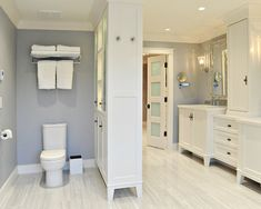 Bathroom Design, Love the narrow cabinet instead of a wall, much more functional. #newbuild #home #centralohio