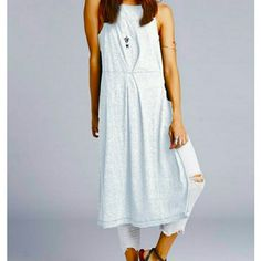 FREE PEOPLE Comet Top Maxi Dress Size M! NWT Free People Top ?Comet Maxi? (dusk) ? uniquely designed sleeveless off-white (light blue grey color) long knitted t-shirt with high slits on the sides, very low V-back and easy comfortable fit. It's perfect with denim pants and shorts. Would also look great as beach cover up! Very fresh look and cool style! BUNDLE AND SAVE!  Machine washable. Fiber Content: 55% polyester, 20% linen, 13% rayon, 12% cotton Free People Tops