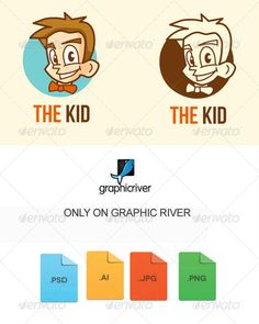 The Kid Logo — Photoshop PSD #cute #mascot • Available here → https://graphicriver.net/item/the-kid-logo/7760058?ref=pxcr
