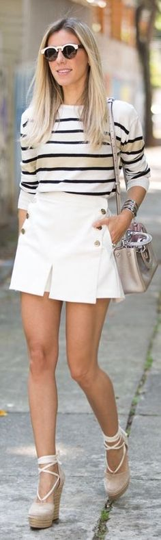 Glam For You White Button Skorts Fall Inspo