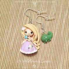 Chibi Rapunzel earrings ~ Cute Disney Princess Princess Earrings Polymer Clay Fimo Flower Girl Gift Handmade Kawaii tiny Pascal