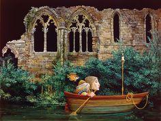 """Passage by Faith © James C. Christensen  """"J'ai utilisé un voyage sur un fleuve comme une métaphore pour le voyage de la vie dans plusieurs de mes peintures"""""""