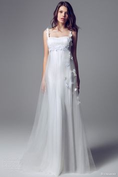 blumarine 2014 romantic wedding dresses empire waist gown tulle overlay floral straps applique