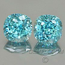 "Natural Blue Zircon Cushion Pair ""Portuguese"" Cut Weight: 5.92 cts total Measurements: 7.3x7.3mm, depth 5.7mm Clarity: VVS Origin: Cambodia Enhancements: Heat only Price: $ 950.00 Gemfix.com Description: Dazzling pair of square cushions. Fantastic cut sets them on fire, brilliant to the max. Clean and bright.(Cut by Andrew Gulij) Closest Pantone Color Card: 638C"