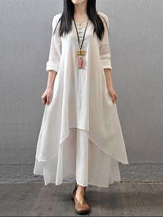 GRACILA vendimia de las mujeres de manga larga con cuello en V vestido irregular Maxi - NewChic