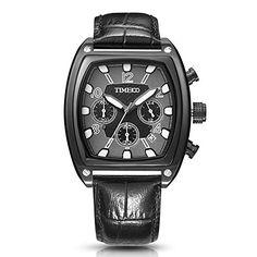 Nuova offerta in #orologio : Time100 Orologio uomo pelle grande quadrante Tonneau cassa in acciaio INOX water resistent#W70111G (Nero) a soli 38.65 EUR. Affrettati! hai tempo solo fino a 2016-09-19 23:34:00
