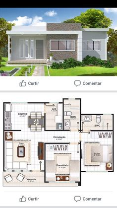 - Ev planı - (notitle) The price reac. My House Plans, House Layout Plans, Modern House Plans, House Layouts, Small House Plans, Home Design Floor Plans, Architectural Design House Plans, Simple House Design, Modern House Design
