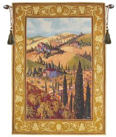 Tuscan Hillside Italian Village Wall Art Hanging Tapestry 53 x 35 >>> To view further for this item, visit the image link. Victorian Tapestries, Medieval Tapestry, Mediterranean Homes Exterior, Mediterranean Decor, Hanging Wall Art, Tapestry Wall Hanging, Tuscan Bedroom, Italian Village, Tuscan House