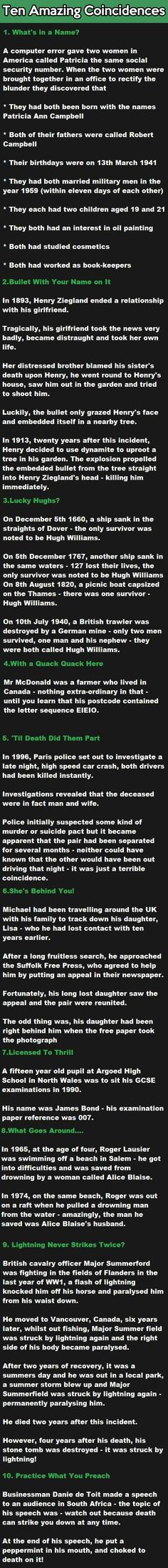 Funny pictures about Ten Amazing Coincidences. Oh, and cool pics about Ten Amazing Coincidences. Also, Ten Amazing Coincidences. Paranormal, The More You Know, Just For You, Wtf Fun Facts, Random Facts, Random Stuff, Crazy Facts, True Facts, Random Things