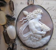 Amazing Antique Cameo.  Stunnnnning antique shell cameo makes for a gorgeous necklace!